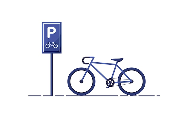 Bicycle parking zone with road sign in flat design blue