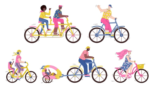 Bicycle races set with people riding bike cartoon illustration