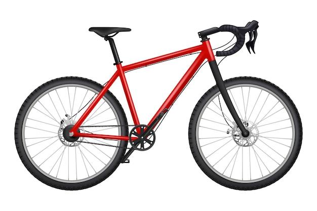 Велосипед реалистично. фитнес спорт шоссейная гонка карбоновый велосипед подробные фотографии цепи руля, педали, шины, транспорт.