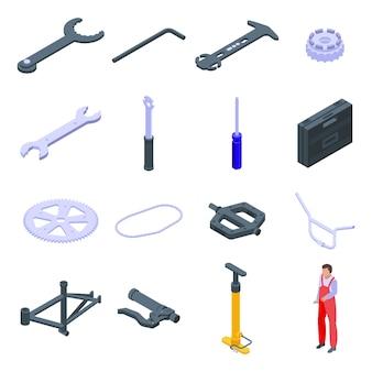 自転車修理アイコンを設定します。白い背景で隔離のウェブの自転車修理アイコンの等尺性セット