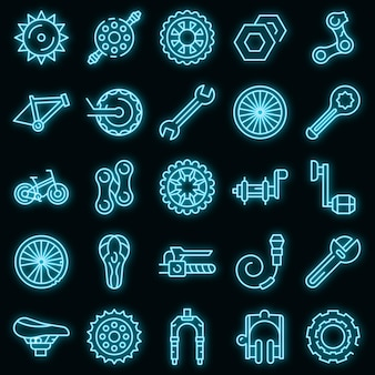 Bicycle repair icons set. outline set of bicycle repair vector icons neon color on black
