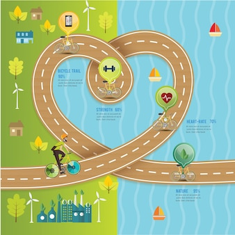 Bicycle road heart timeline way,nature trail.vector illustration.