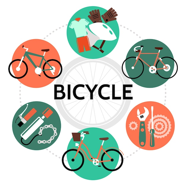 Bicycle round template in flat style