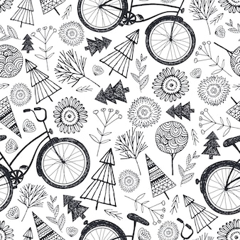 Bicycle seamless pattern with trees, florals, flowers. black and white, hand drawn doodle background