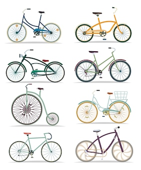 Bicycle set in flat style