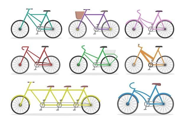 Набор велосипедов. транспортный сбор. спортивный транспорт с педалью и рулем. городской элемент. иллюстрация в стиле