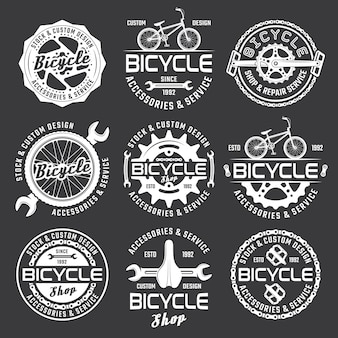 Bicycle shop or bike repair service set of vector white badges
