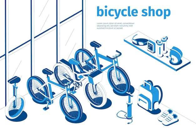 Bicycle shop isometric composition