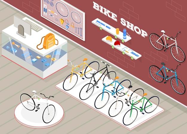 Illustrazione isometrica del negozio di biciclette con accessori e dispositivi per biciclette