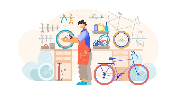 Bicycle shop repair maintenance service flat composition with craftsman holding wheel fixing inner tube