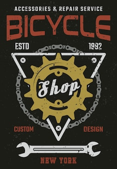 Bicycle shop and repair service vintage vector poster