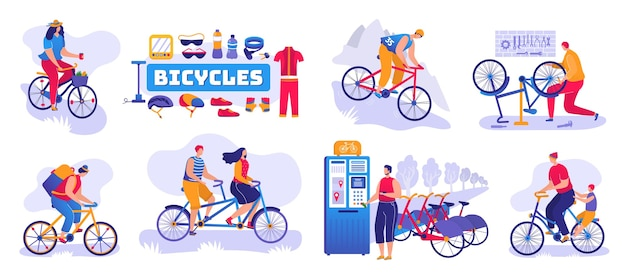 Bicycle shop set of isolated . bikes and bicycles store, repair shop service