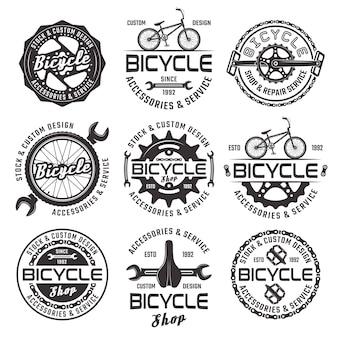 ベクトル黒バッジの自転車店セット