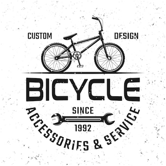 Bicycle shop vector black emblem, badge, label or logo in vintage style isolated on background with removable grunge textures