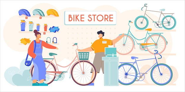 Bicycle store new second hands bikes accessories helmets sale flat composition with salesman assisting customer