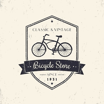 Велосипедный магазин, магазин, старинный гранж-дизайн на щите
