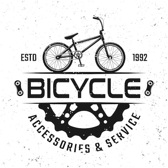 Bicycle store vector round emblem, badge, label or logo in vintage style isolated on background with removable grunge textures