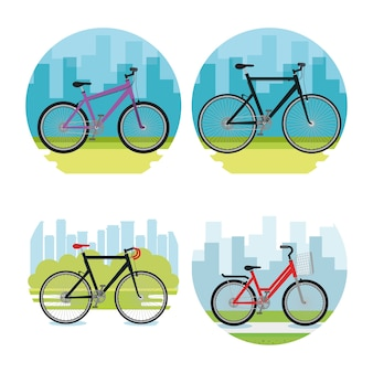 Bicycle style set icons