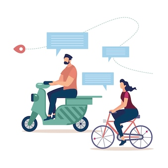 Bicycle tourism, traveling on scooter concept
