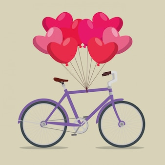 Bicycle transport vehicle with hearts balloons