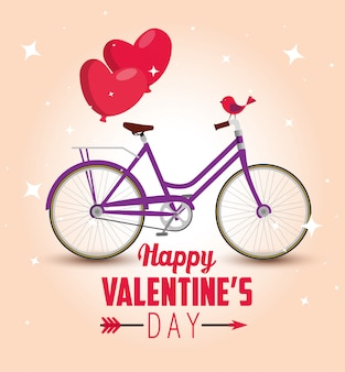Bicycle transport with hearts balloons to valentine's day