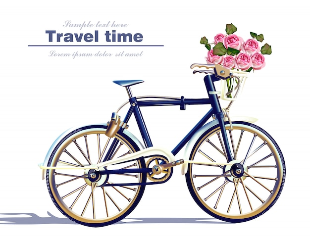 Bicycle travel card realistic illustration