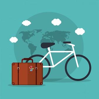自転車旅行スーツケース世界の休暇