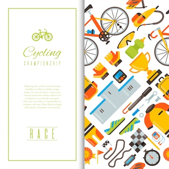 Bicycle uniform and sport accessories seamless pattern vector illustration.