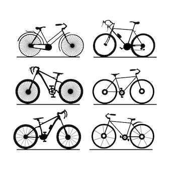 Велосипед вектор. силуэт изолированный фон.