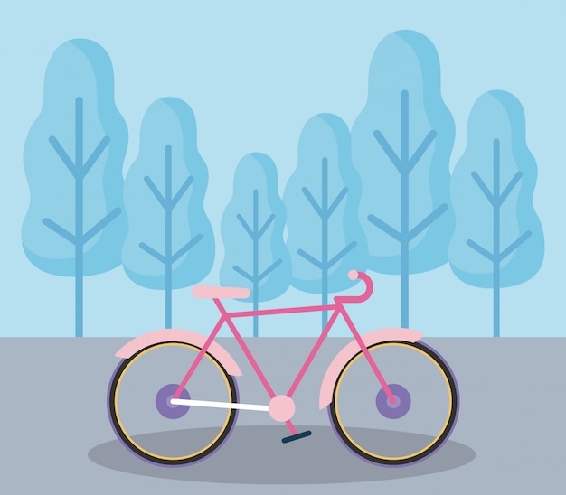 Bicycle vehicle in landscape isolated icon