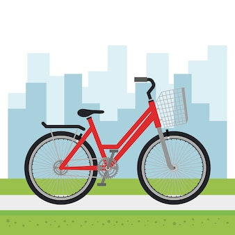 Bicycle vehicle with cityscape background