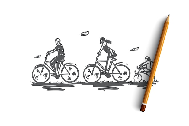 Bicycle, walk, sport, family, active concept. hand drawn family activity with bikes concept sketch.   illustration.