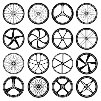 Bicycle wheels. tires silhouettes bike wheels with metal spokes vector symbols collection. illustration tire rubber for cycle transportation