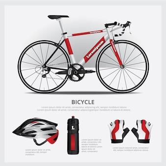 Велосипед с аксессуарами векторная иллюстрация