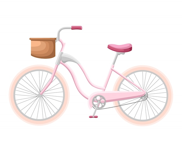 Bicycle with a basket bicycle set design flat isolated   illustration.