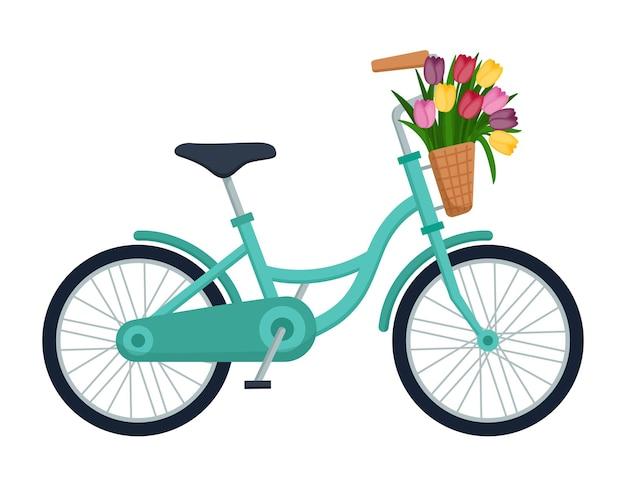 Велосипед с корзиной, полной тюльпанов, векторные иллюстрации