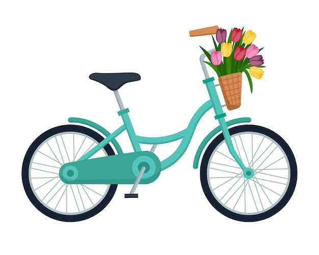 Bicycle with basket full of tulips, vector illustration