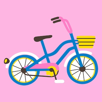 Bicycle with a basket isolated on pink. side view. flat.