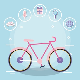 Bicycle with delivery service with icon set