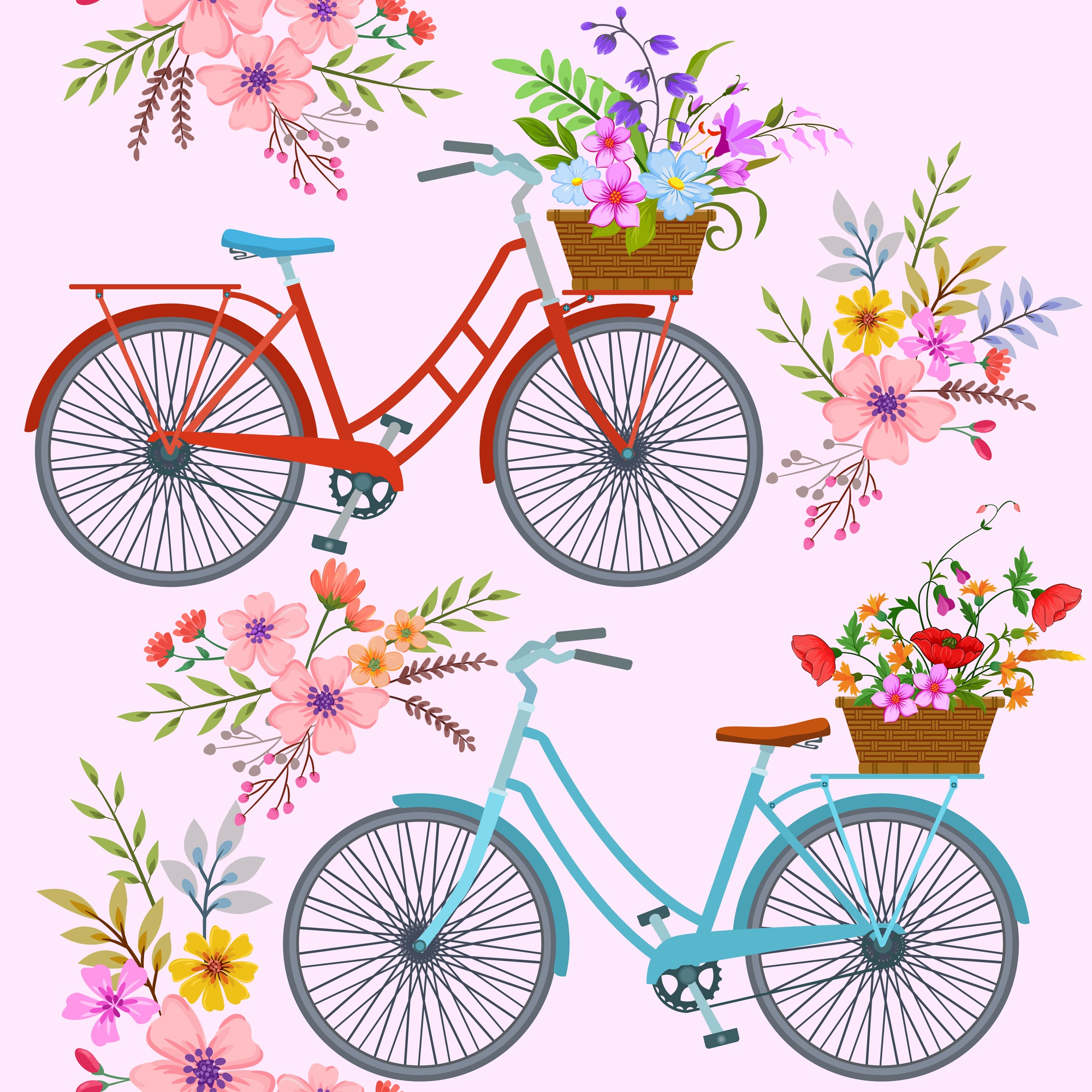 Bicycle with flowers pattern.