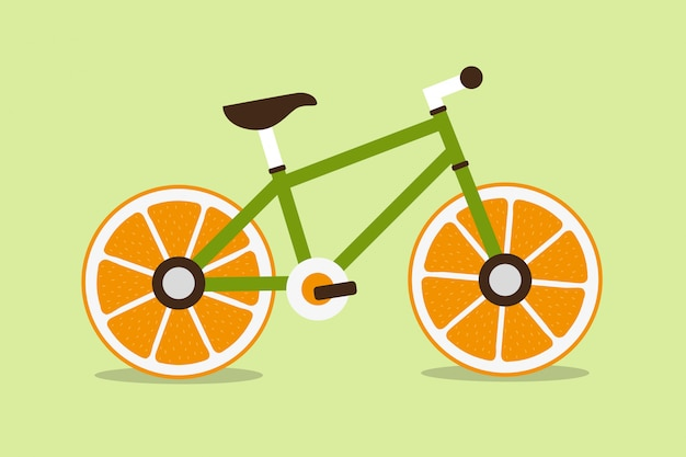 Bicycle with orange wheel