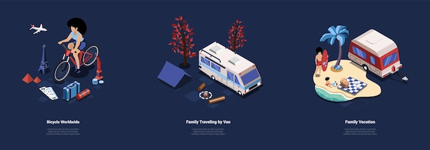Bicycle worldwide traveling, family van automobile trip and vacation illustration set