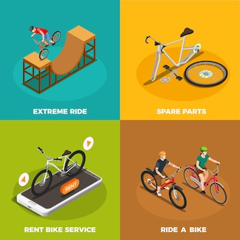 Bicycles isometric  concept with rent bike service spare parts and extreme ride isolated