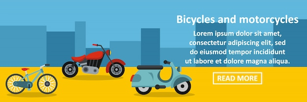 Bicycles and motorcycles banner horizontal concept