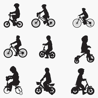 Bicyclist child silhouettes