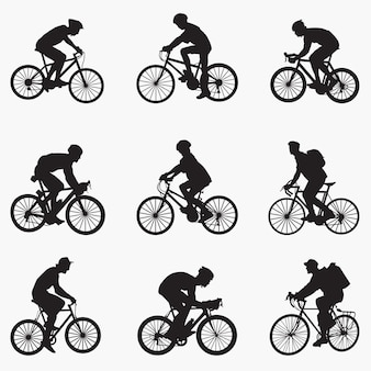 Bicyclist man silhouettes