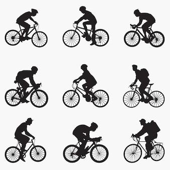 Велосипедист человек силуэты