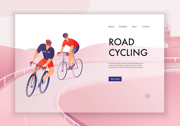 Bicyclists in helmets during road cycling tour concept of web banner