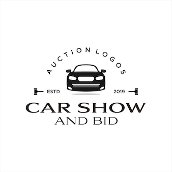 Bid logo vintage style car show and auction Premium Vector