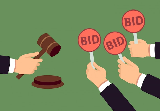 Bidders human arms holding bid paddle and auctioneer hand with gavel. auction bidding and justice vector concept